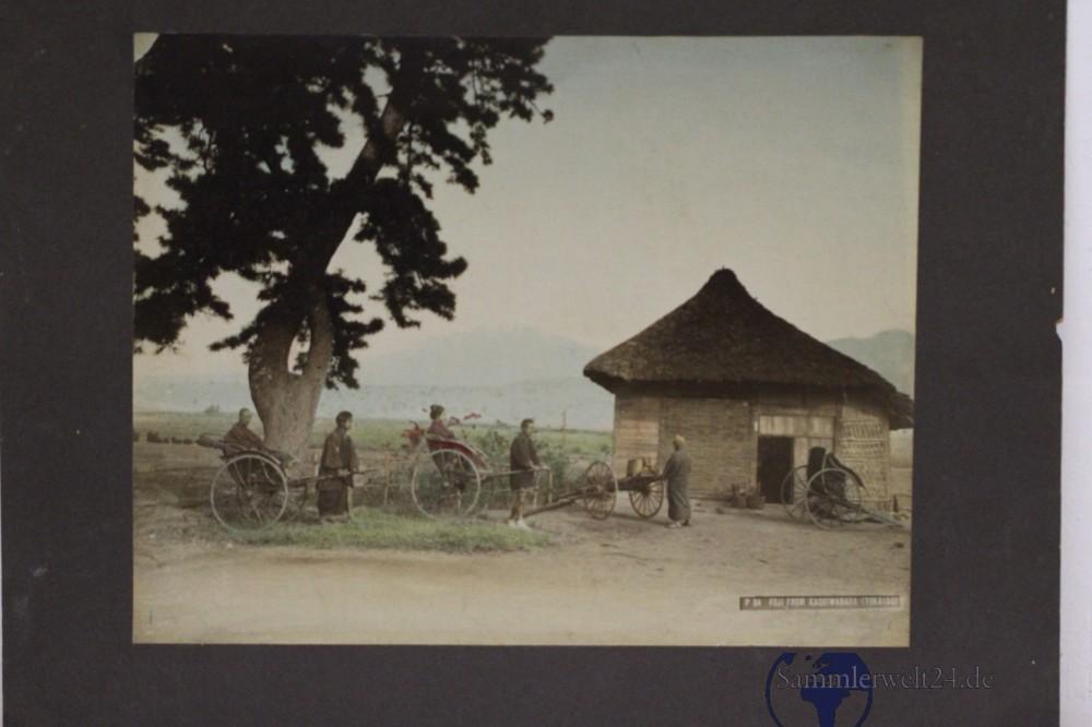 org. Foto 1880 Albumin Handkoloriert Japan Fuji from Kashiwabara ...